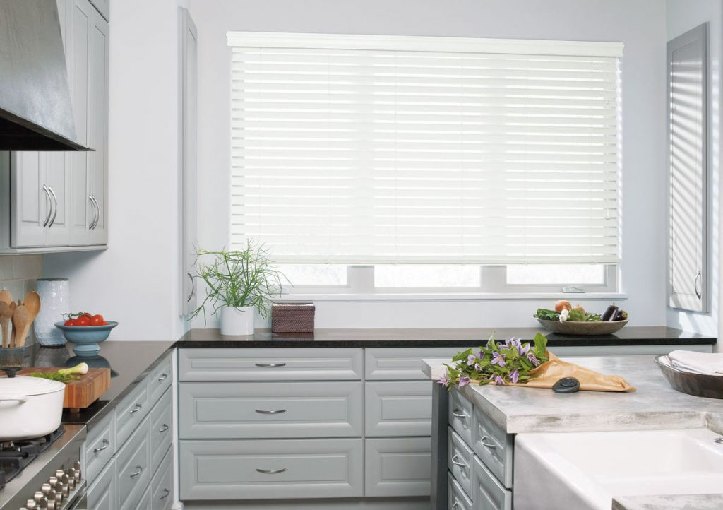 faux-wood blinds in kitchen
