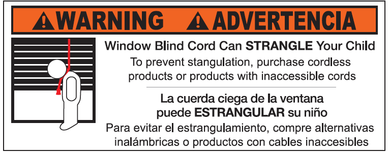 Warning label window blind cord