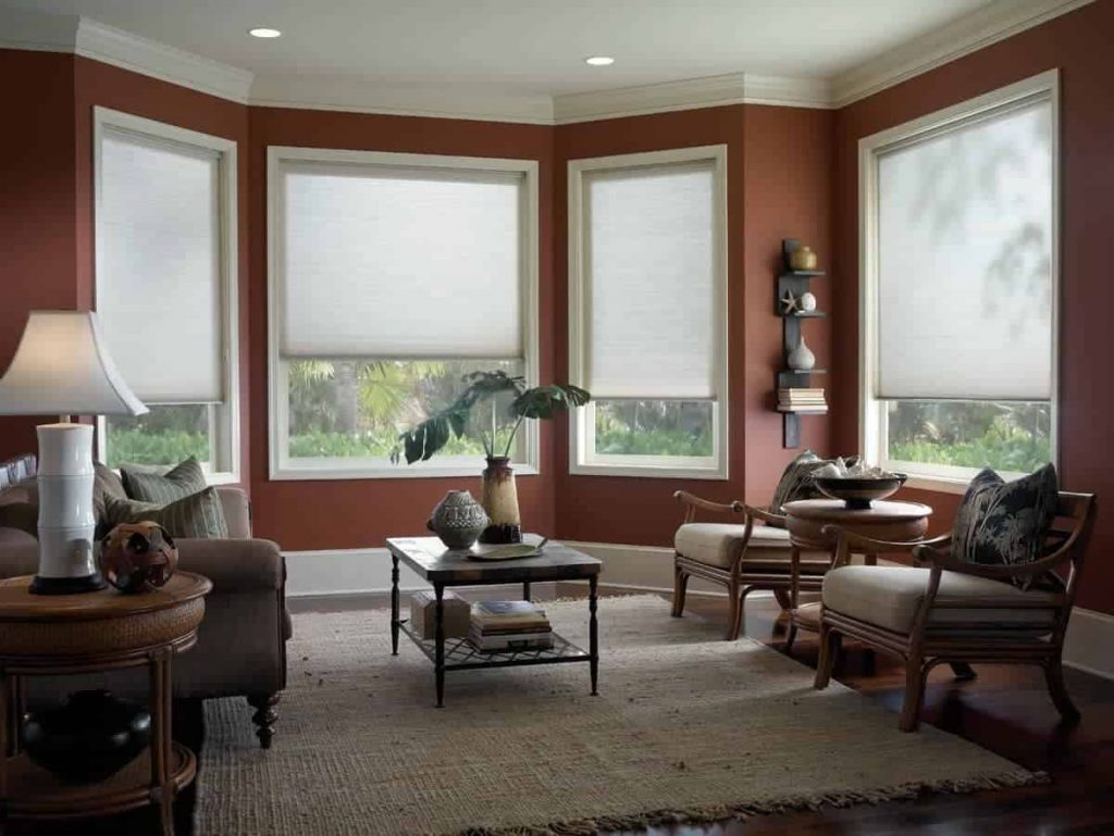 honeycomb shades in a living room