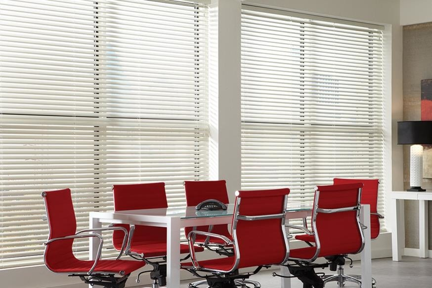 casual meeting room with aluminum blinds