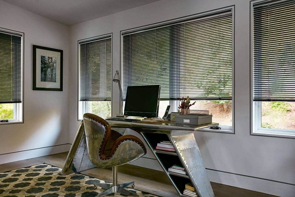 home office with aluminum blinds