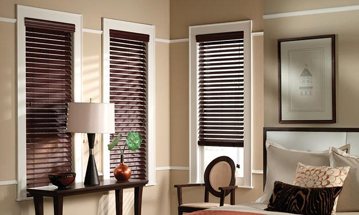 room with faux wood blinds