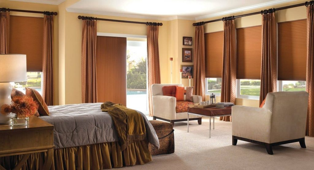 honeycomb shades on a bedroom