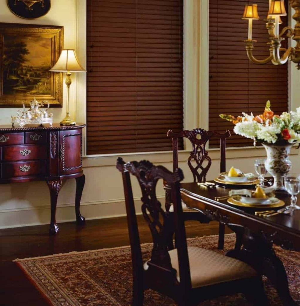 faux-wood blind in dining room