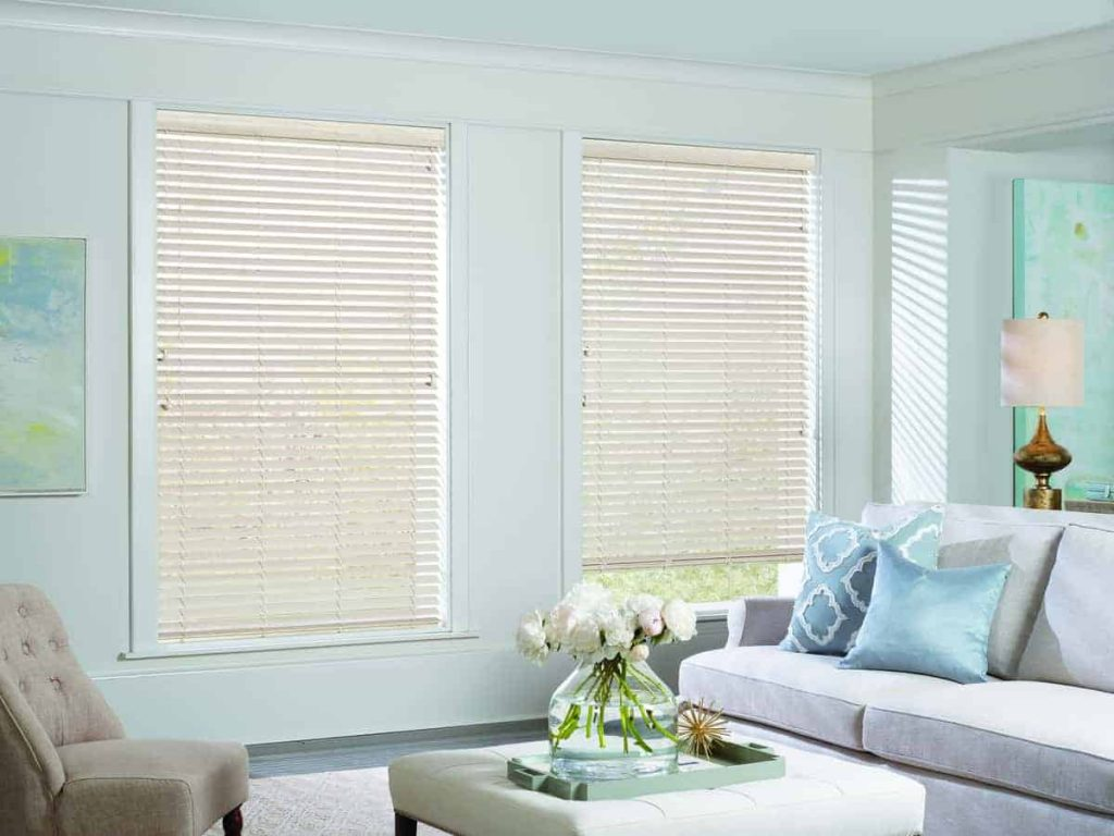 faux-wood blinds in living room