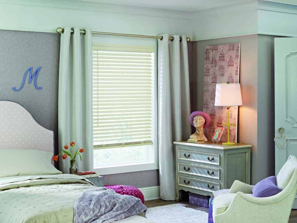 faux-wood blinds in bedroom