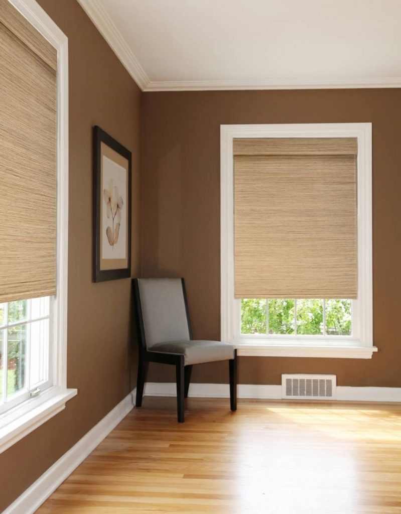 roman shades installed in a room