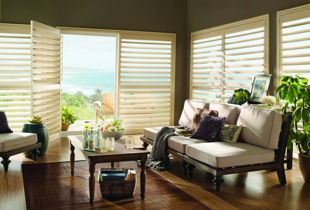 shutters installed in a living room