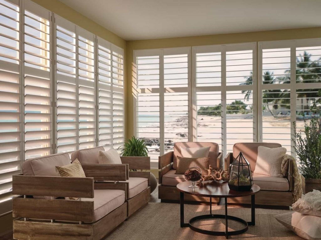 shutters in a living room on a beach